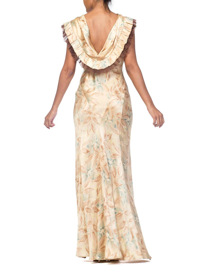 1930s Bias Cut Floral Satin Gown With Silk Ruffles  For Sale 1