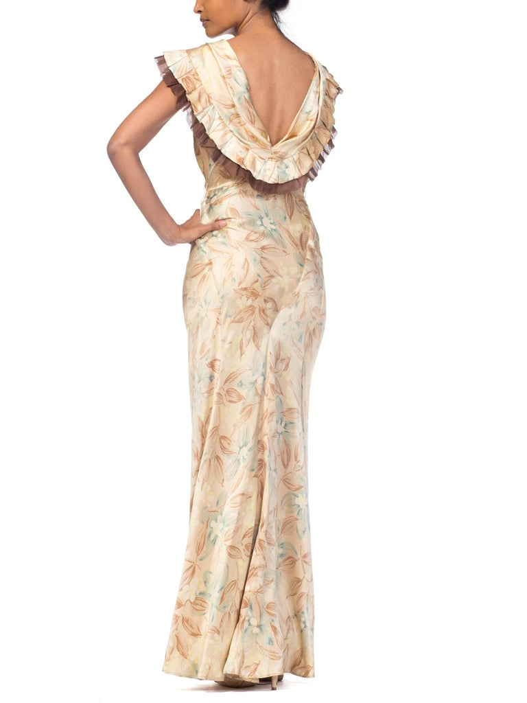 1930s Bias Cut Floral Satin Gown With Silk Ruffles  For Sale 3