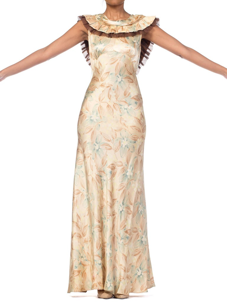 1930s Bias Cut Floral Satin Gown With Silk Ruffles  For Sale 8