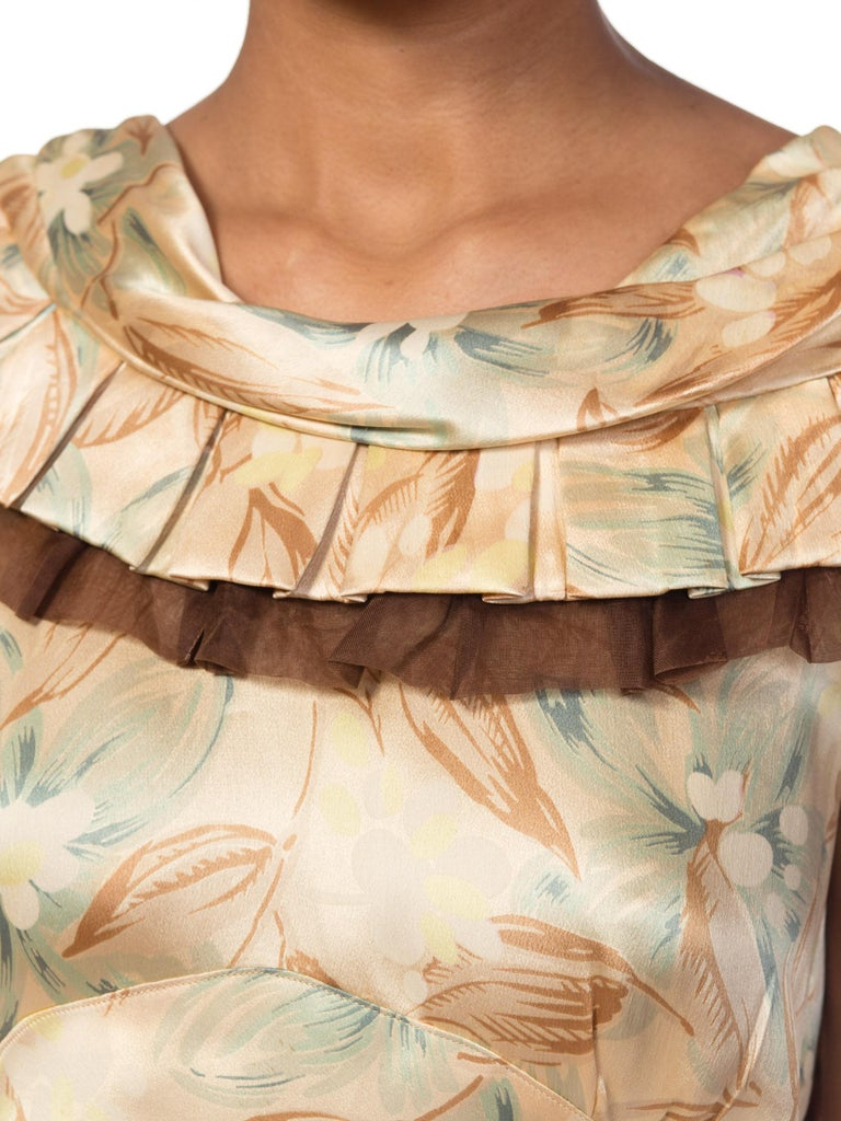 1930s Bias Cut Floral Satin Gown With Silk Ruffles  For Sale 2