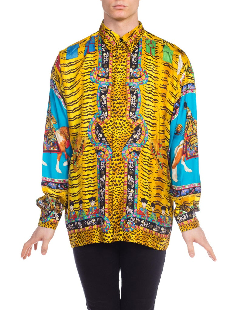 95d9e7bef9d7d0 Brown Rare Chinese Emperor Gianni Versace Silk Shirt Mens For Sale
