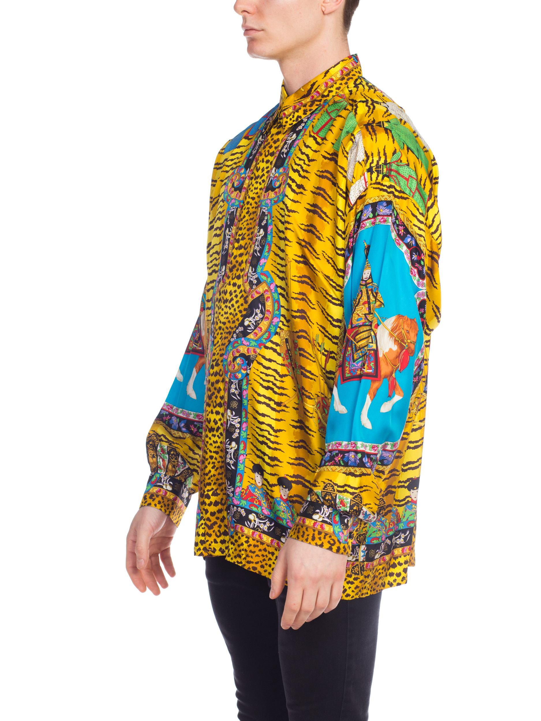 01b218d6c Rare Chinese Emperor Gianni Versace Silk Shirt Mens at 1stdibs