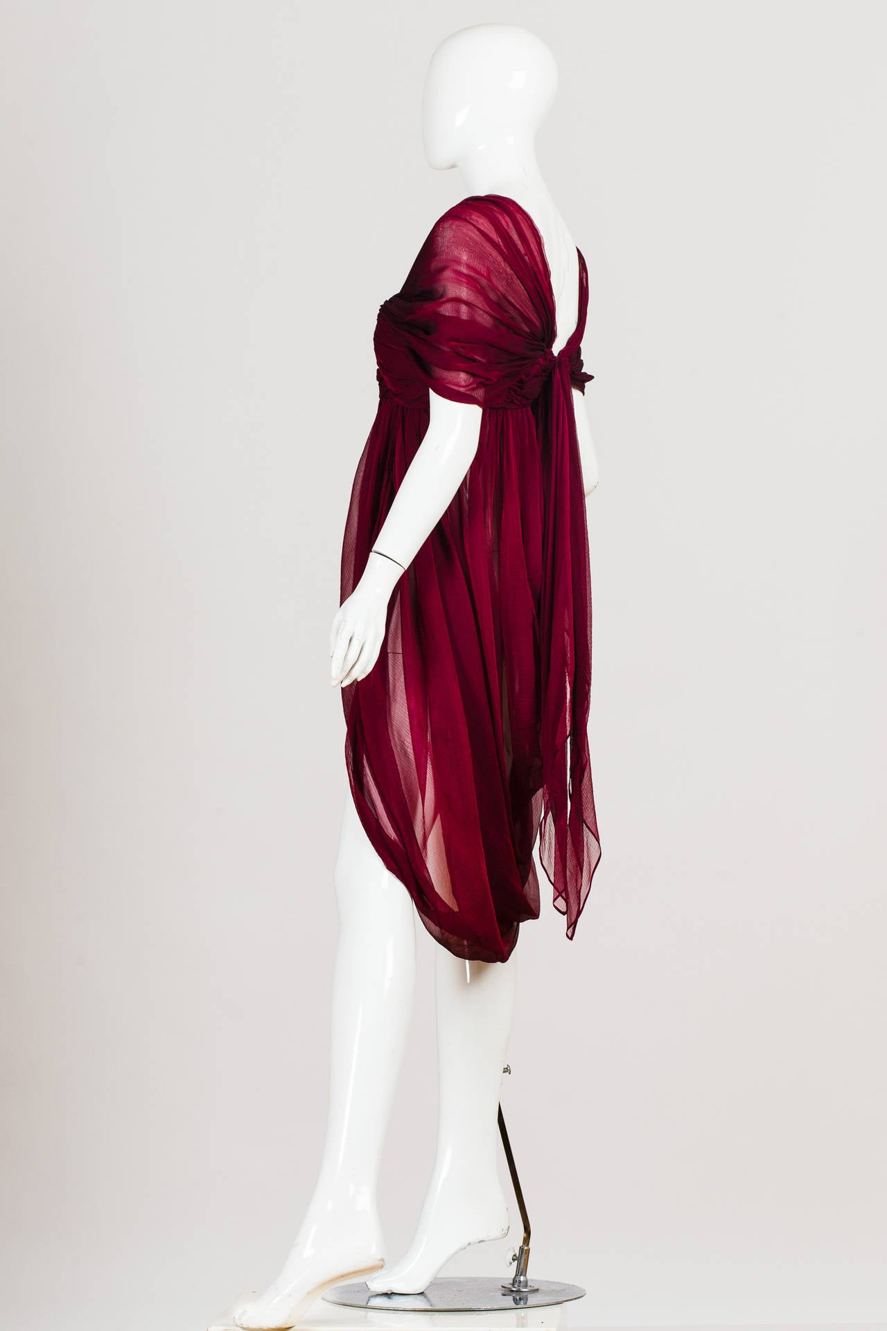 Alexander McQueen Ruby Red Chiffon Draped Blouse at 1stdibs