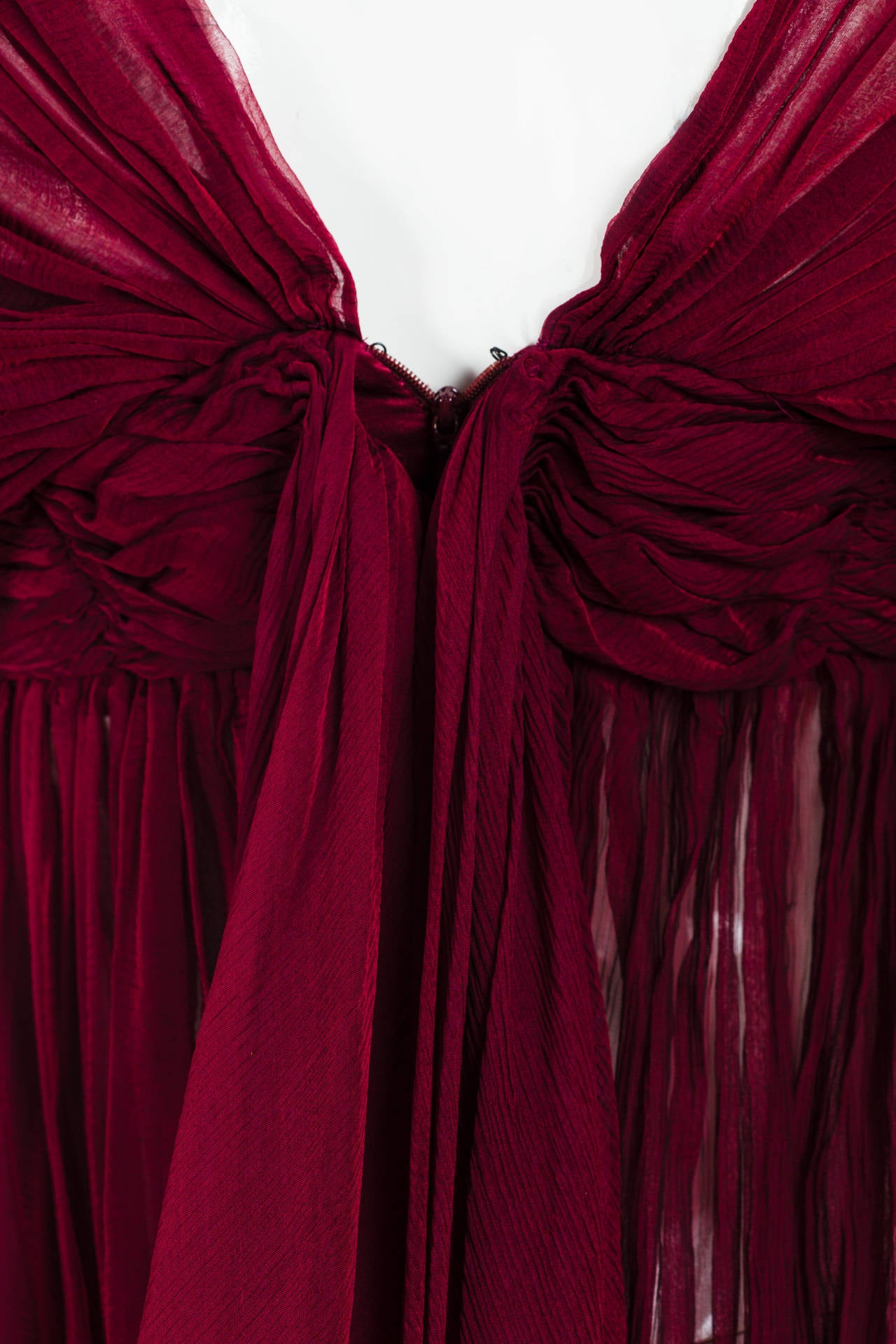 Alexander McQueen Ruby Red Chiffon Draped Blouse 6