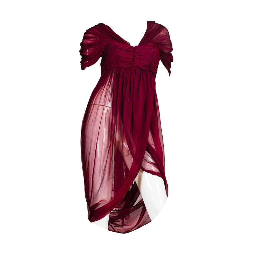Alexander McQueen Ruby Red Chiffon Draped Blouse