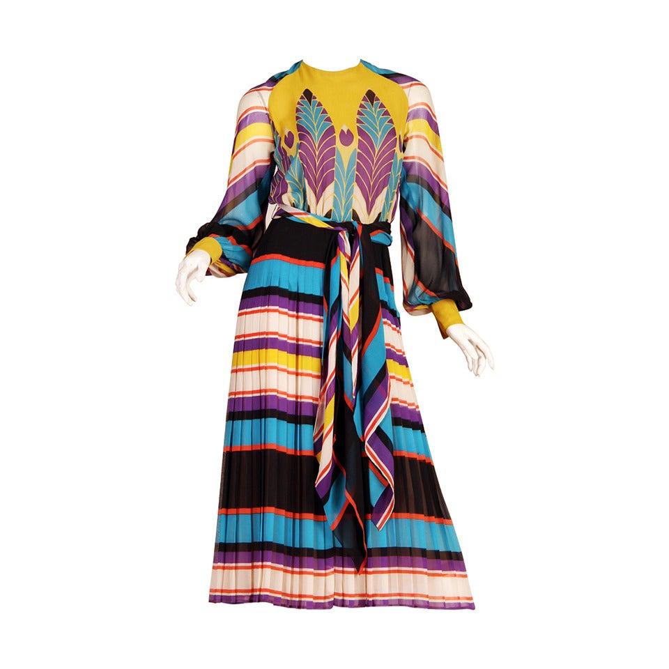 1970s Valentino Haute Couture Egyptian Revival Silk Dress