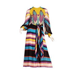 1970s Valentino Haute Couture Egyptian Revival Silk Dress