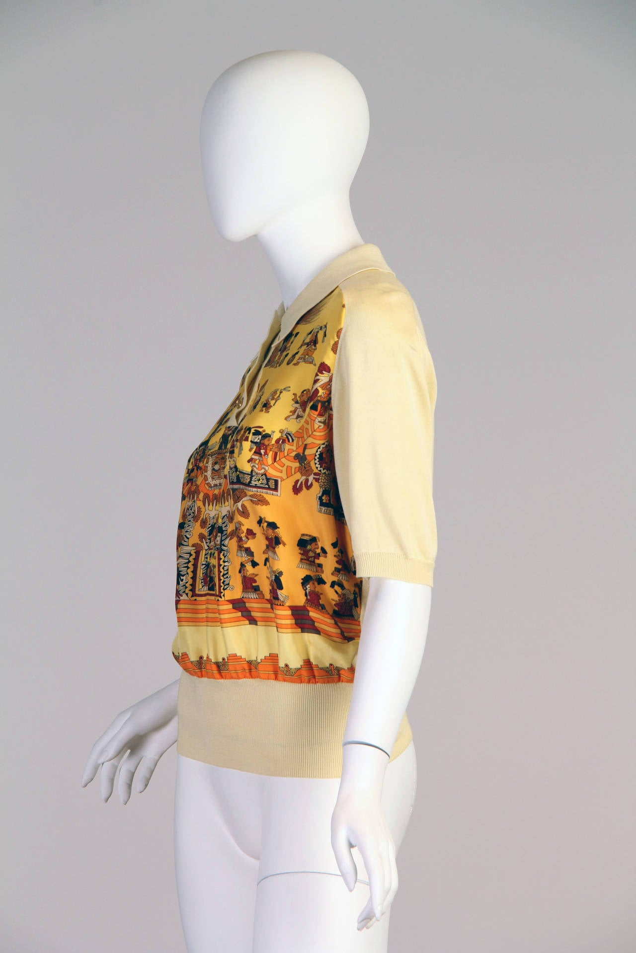 1970s Hermes Silk Mayan Print Button Collared Blouse 2
