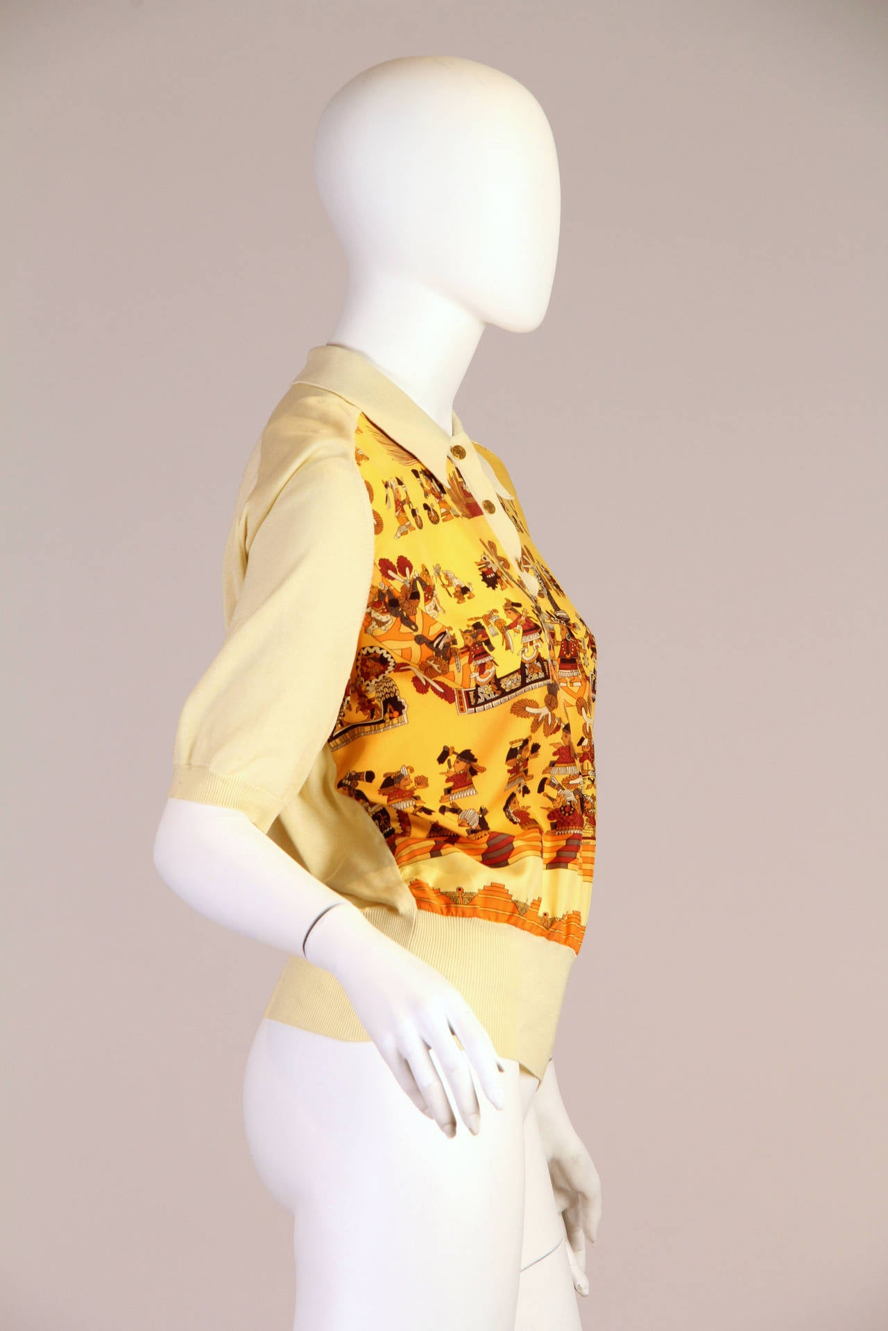1970s Hermes Silk Mayan Print Button Collared Blouse 4