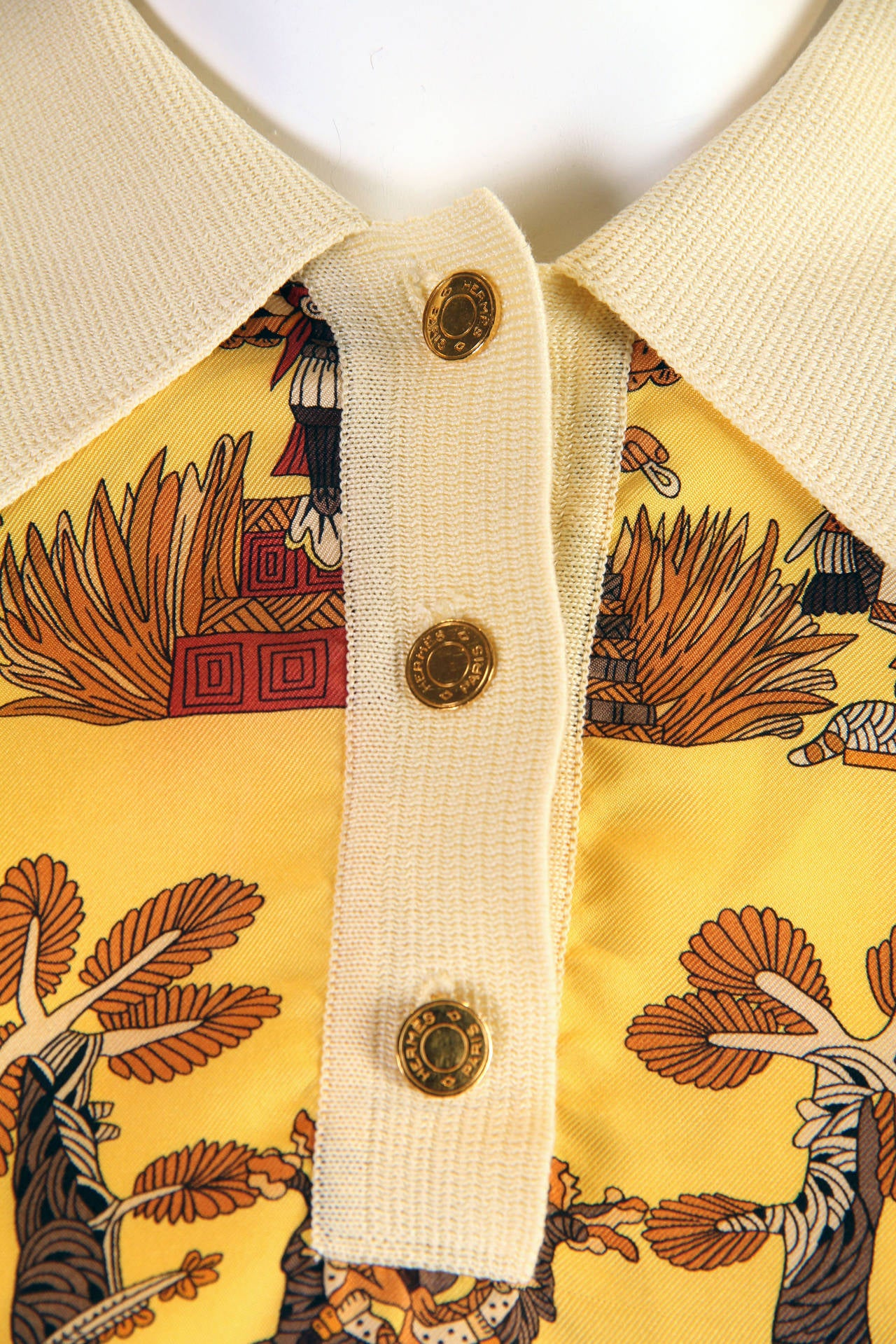 1970s Hermes Silk Mayan Print Button Collared Blouse 6