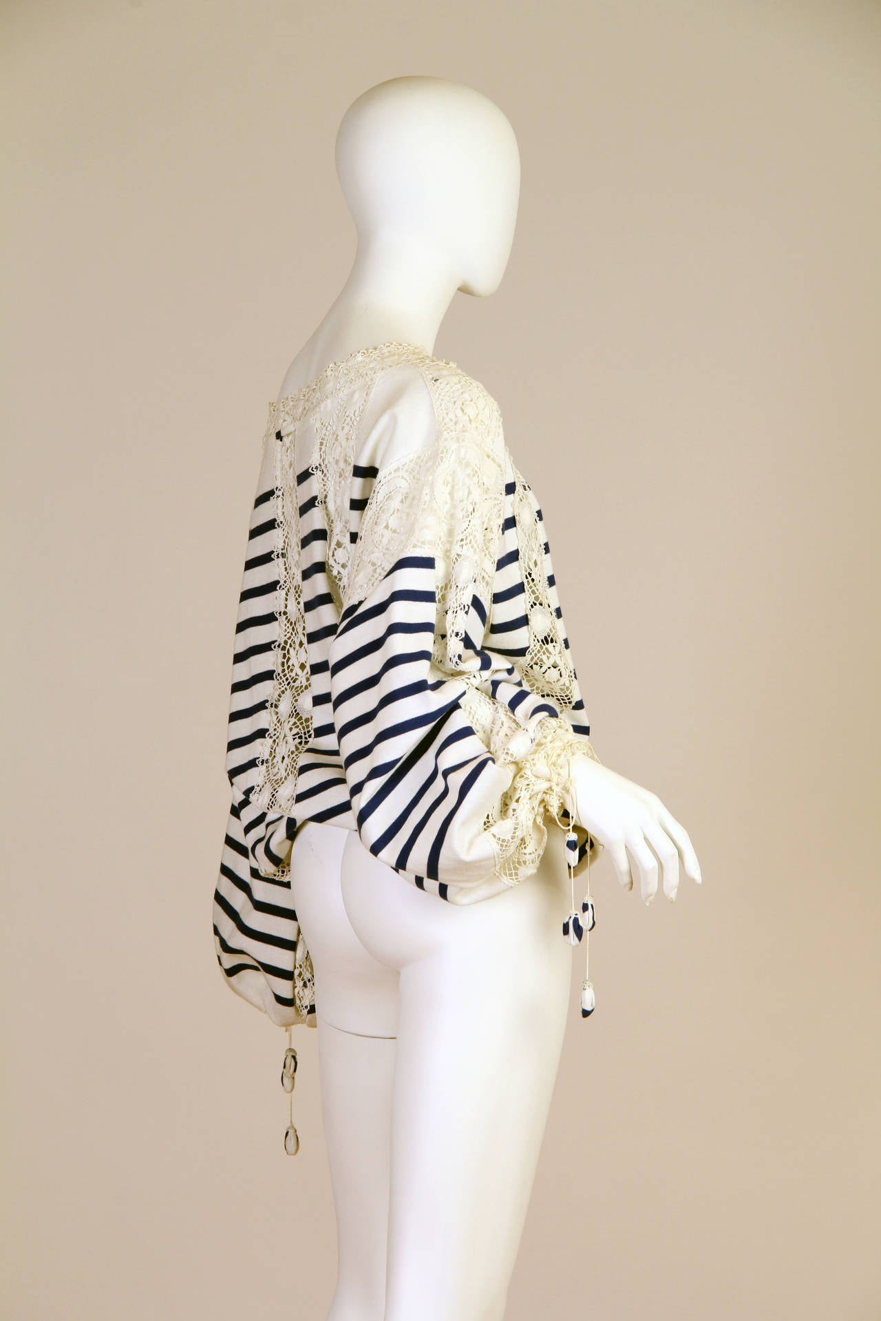 Jean Paul Gaultier Runway Sample Boho Sailor Blouse In Good Condition For Sale In New York, NY