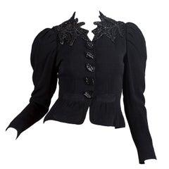 1930S  ELSA SCHIAPARELLI Black Haute Couture Silk Crepe Pagan Collection Embroi