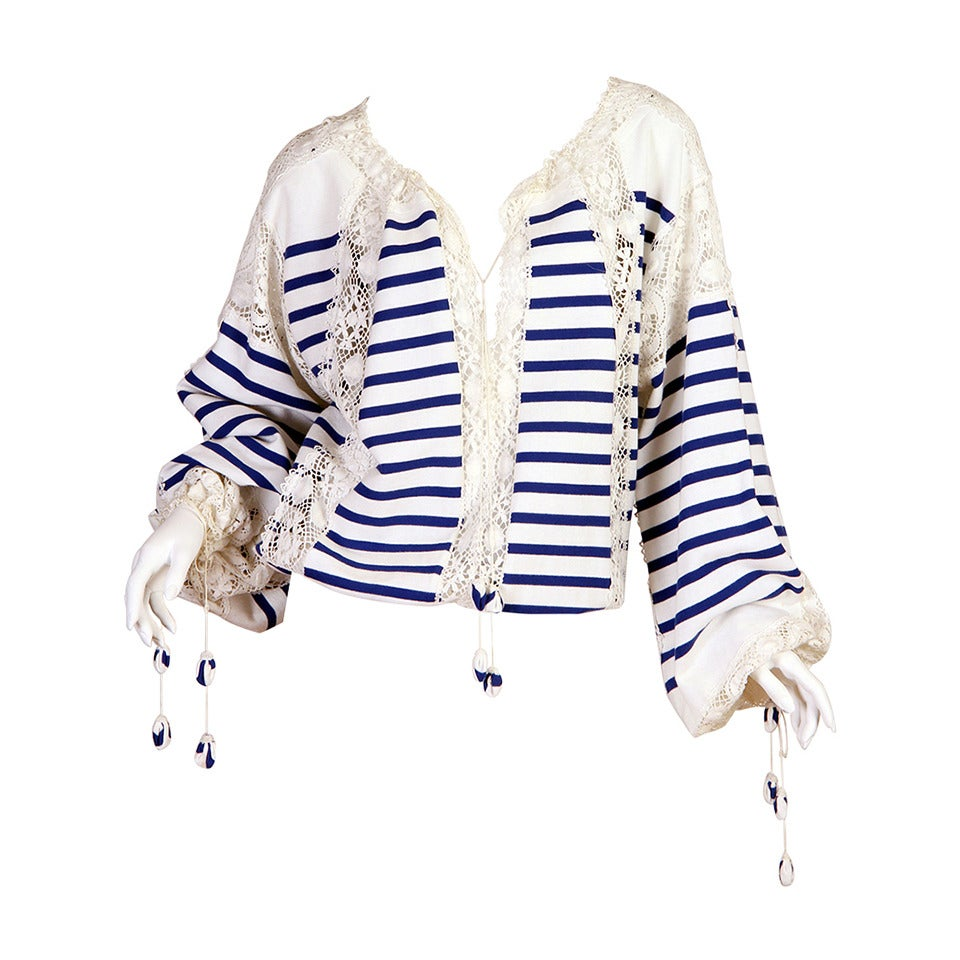 Jean Paul Gaultier Runway Sample Boho Sailor Blouse For Sale