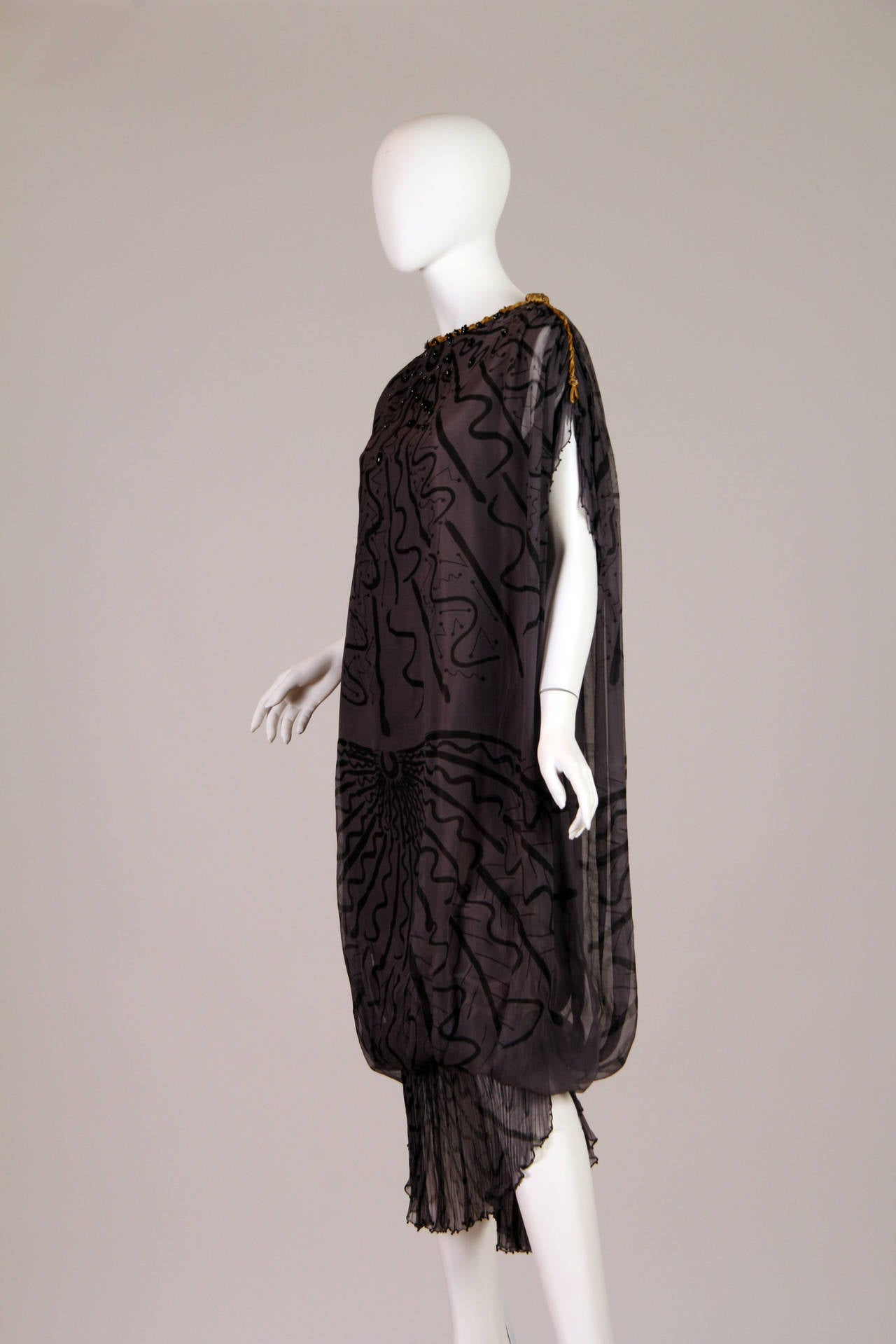 Zandra Rhodes hand Beaded Silk Chiffon Dress 2