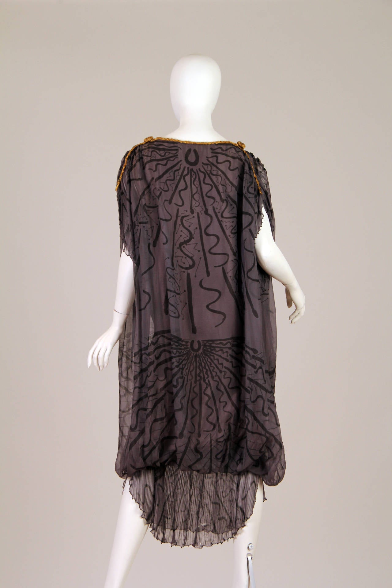 Black Zandra Rhodes hand Beaded Silk Chiffon Dress For Sale