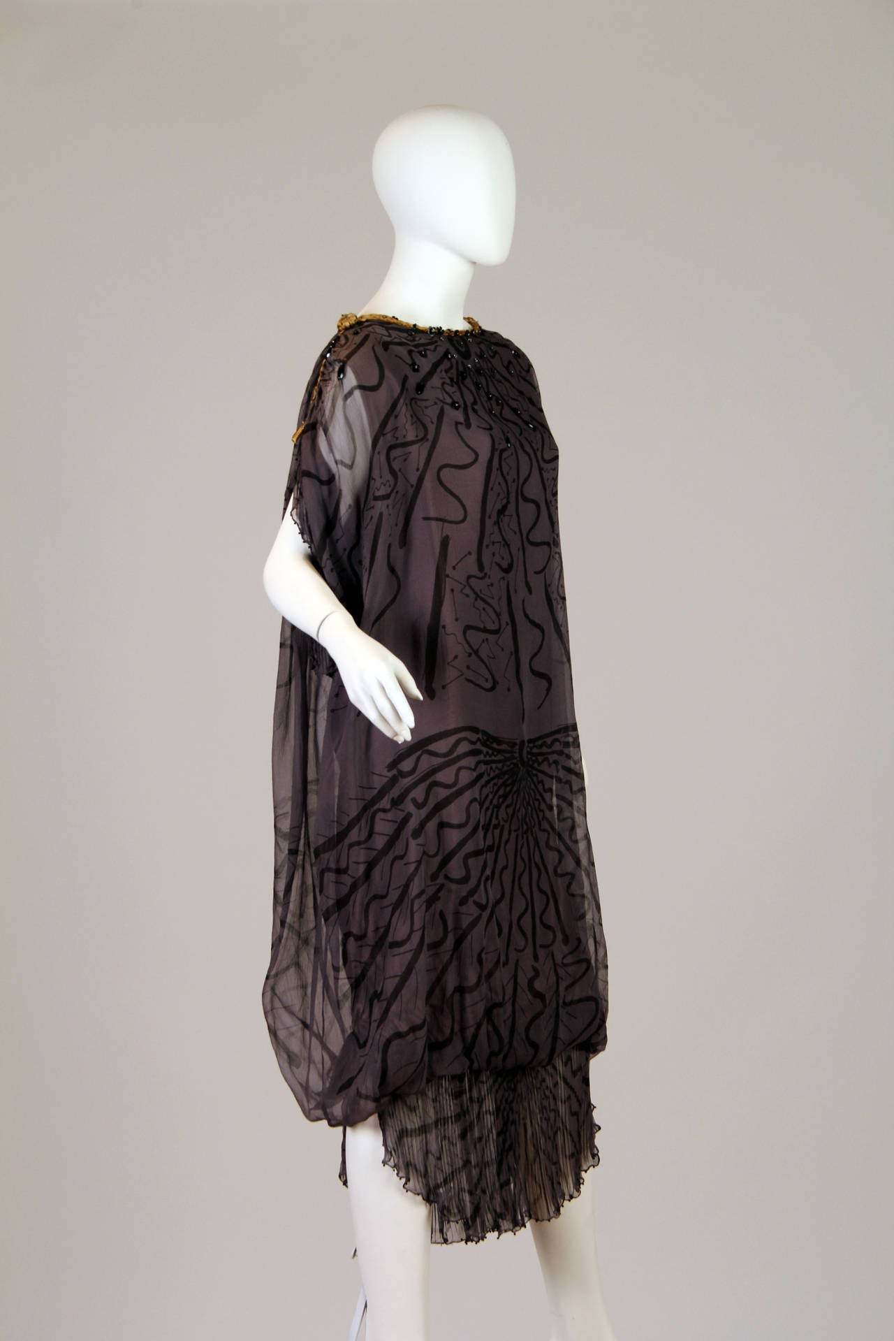 Zandra Rhodes hand Beaded Silk Chiffon Dress In Good Condition For Sale In New York, NY