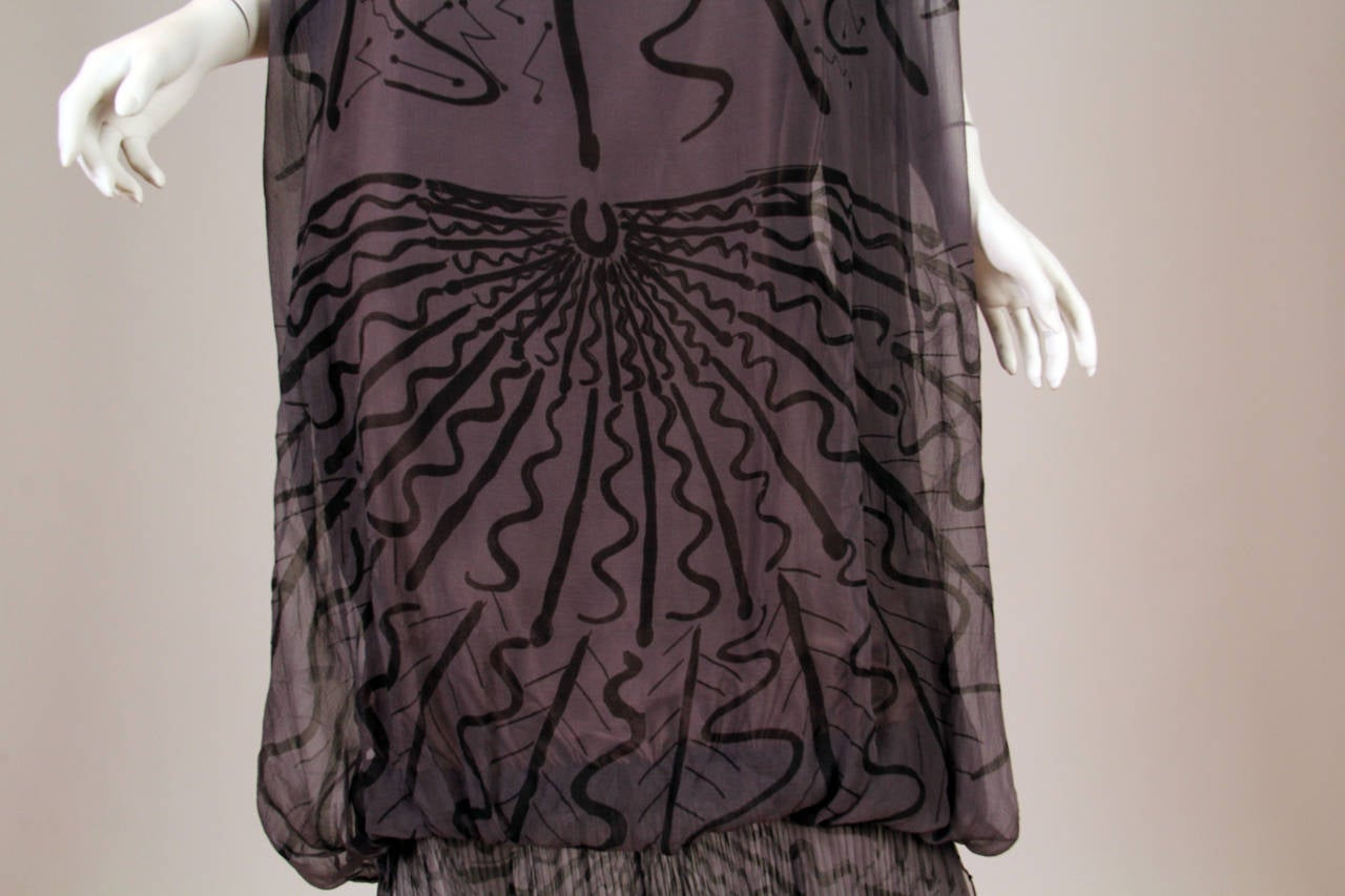 Zandra Rhodes hand Beaded Silk Chiffon Dress 8