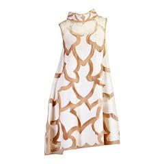 Early 1960s Artistic Mod Linen and Net Dress