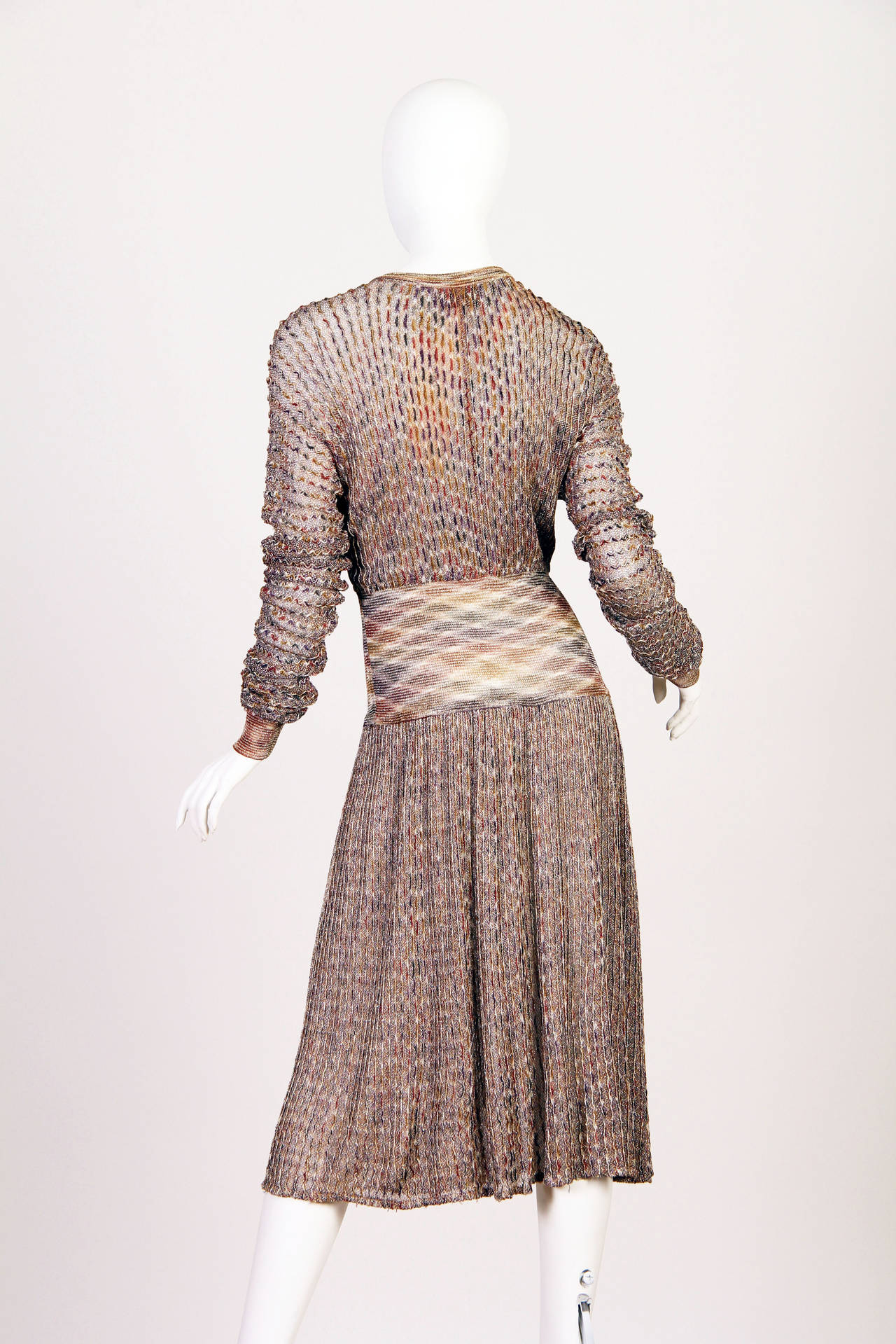 Brown 1970s Missoni Dress with Gold For Sale