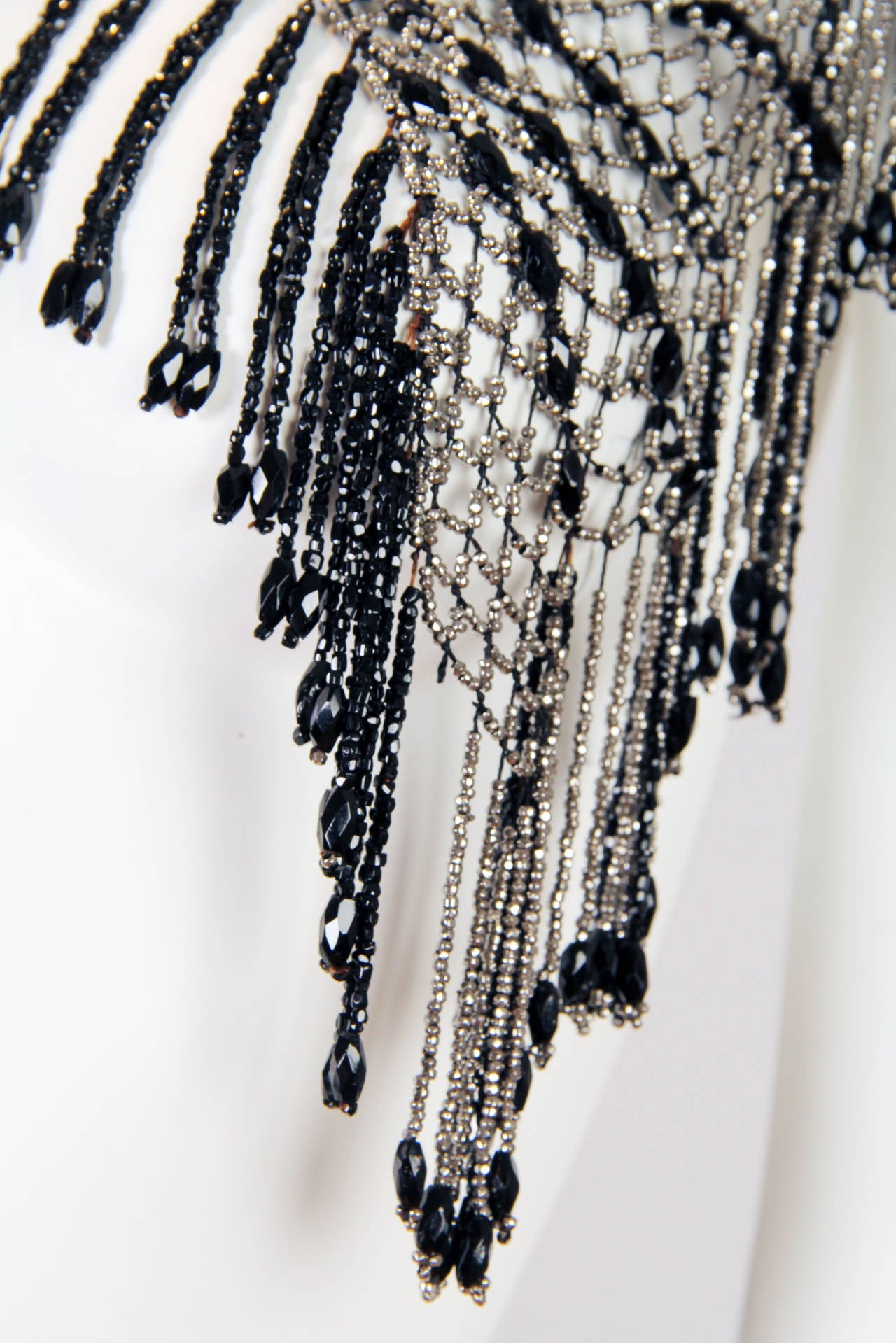 Fringed Victorian Cut Glass and Steel Beaded Collar Necklace Mantle For Sale 5