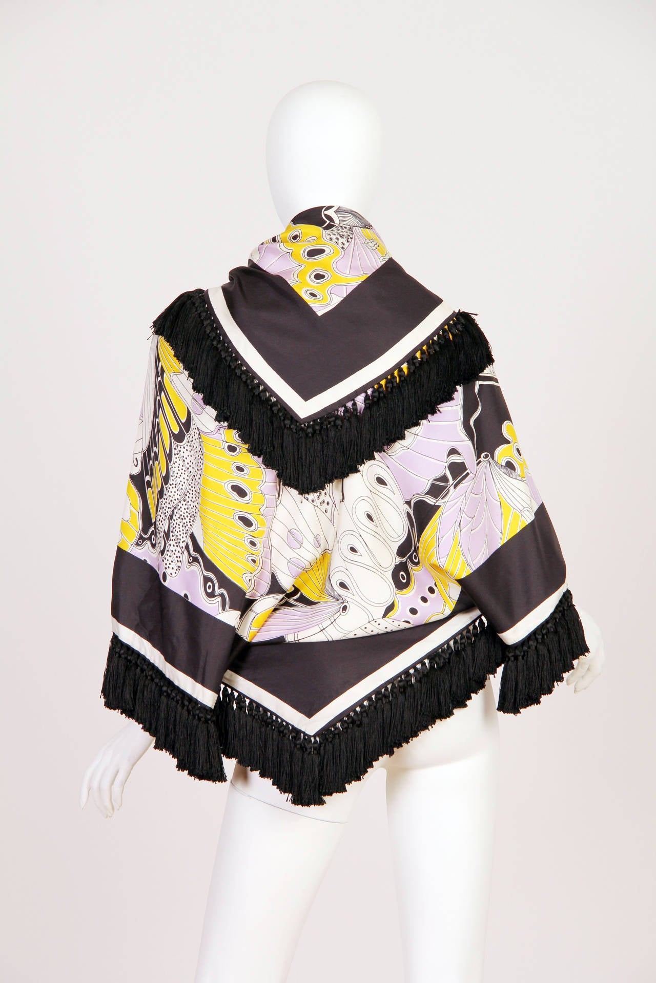 Black 1970s Michael Novarese Silk Fringed Butterfly Jacket For Sale