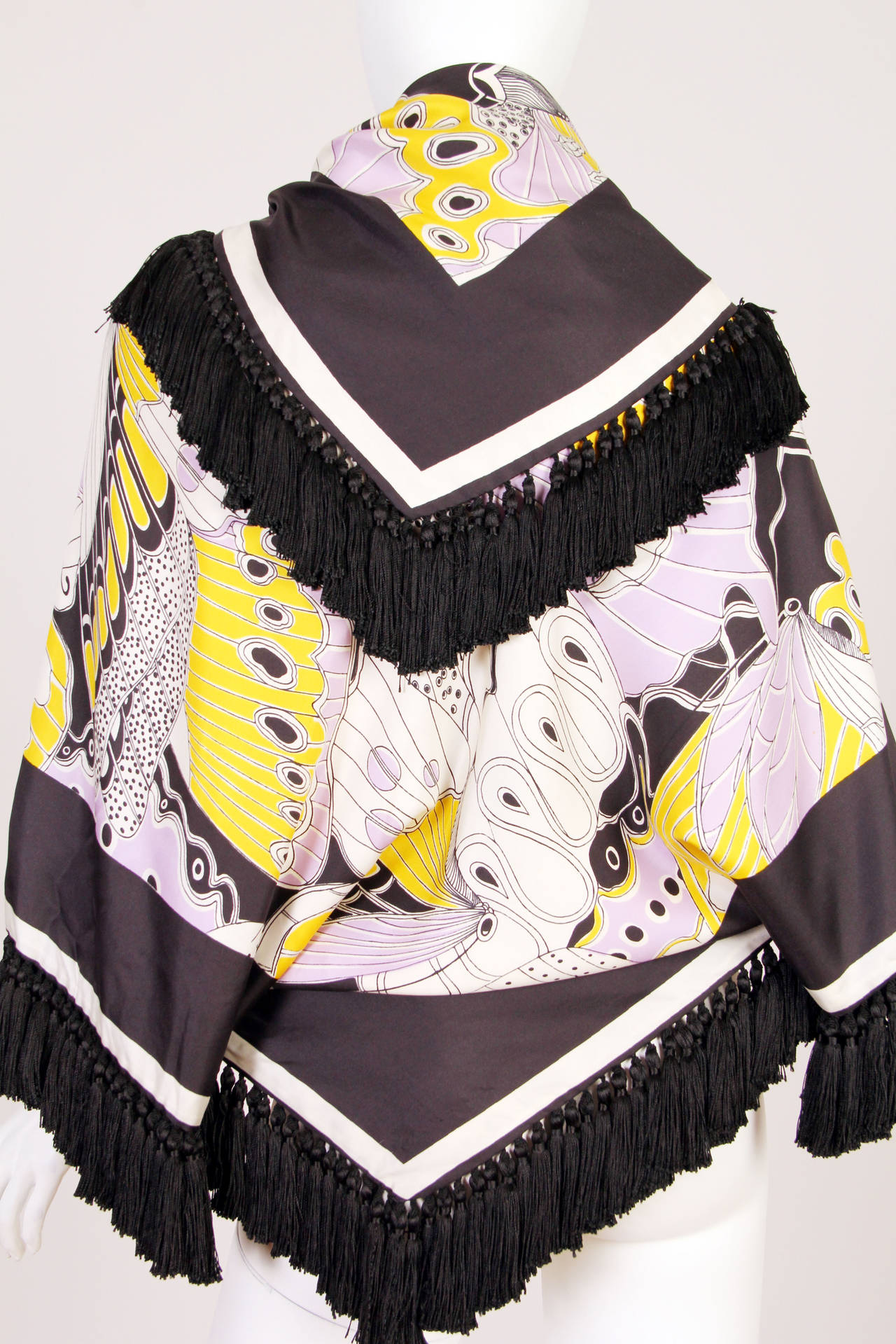 Women's 1970s Michael Novarese Silk Fringed Butterfly Jacket For Sale