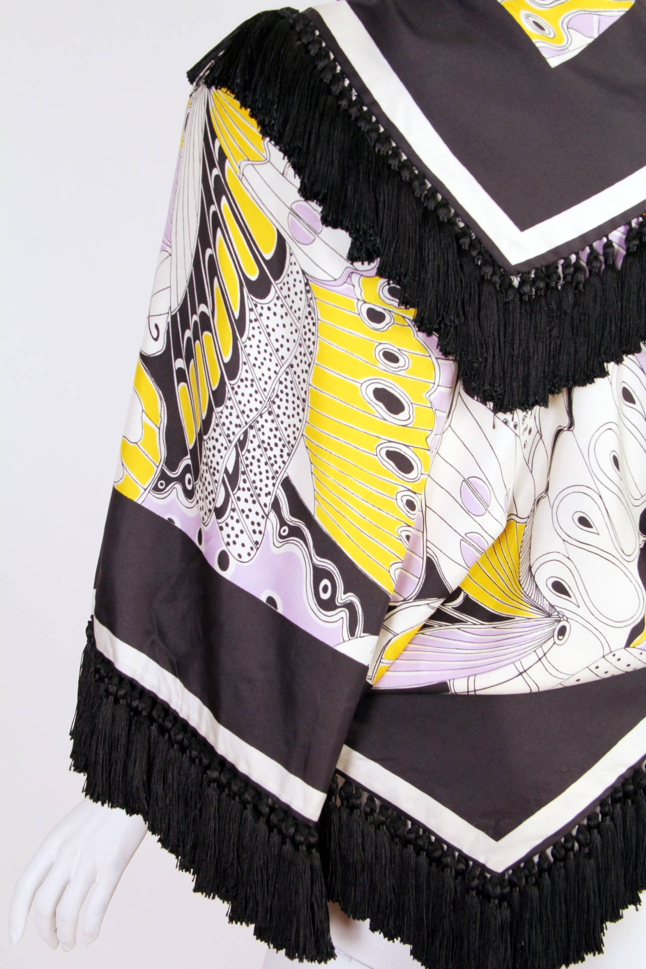 1970s Michael Novarese Silk Fringed Butterfly Jacket For Sale 1