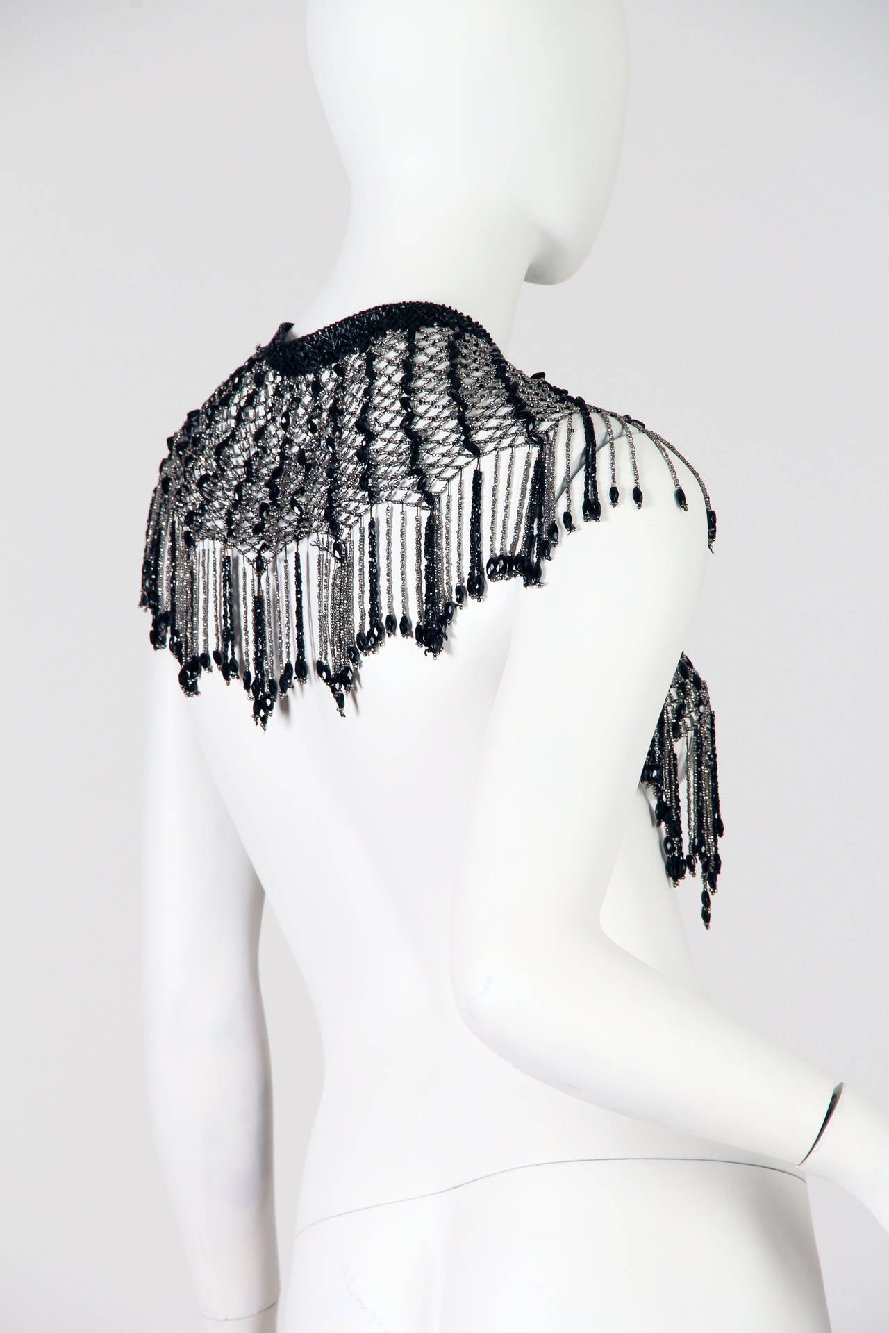 Fringed Victorian Cut Glass and Steel Beaded Collar Necklace Mantle In Good Condition For Sale In New York, NY