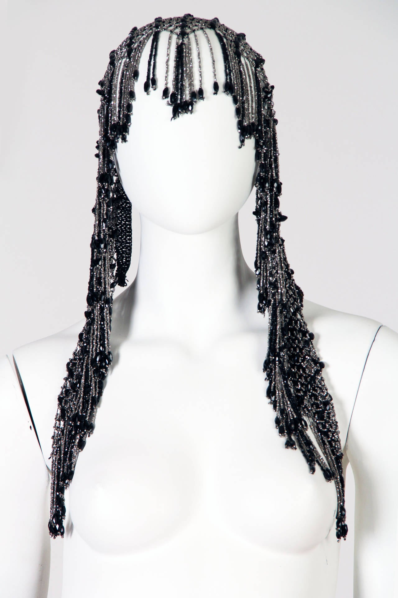 Fringed Victorian Cut Glass and Steel Beaded Collar Necklace Mantle For Sale 2