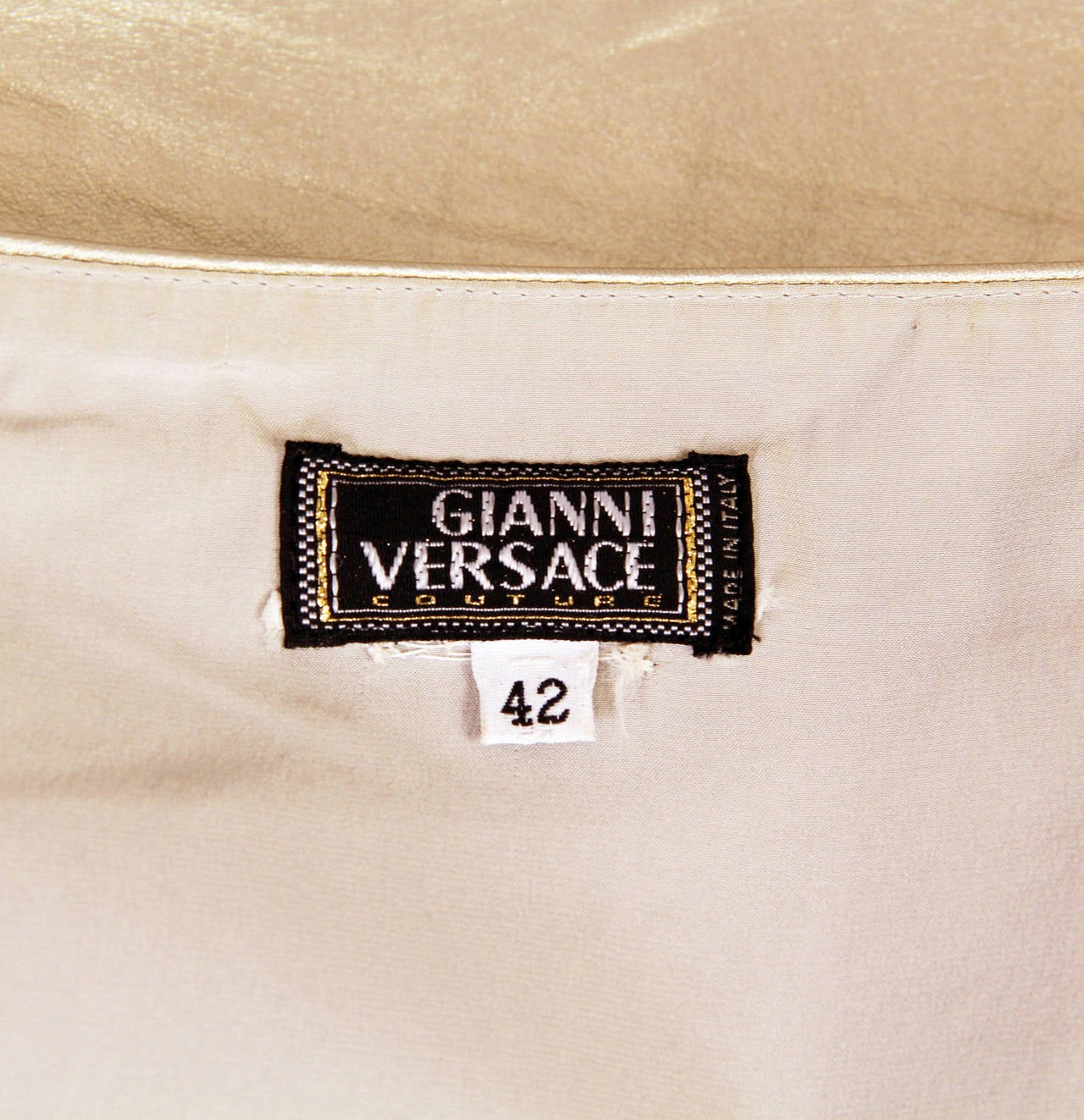 Iconic Documented 1994 Supermodel Gianni Versace Couture Silver Leather Skirt For Sale 2