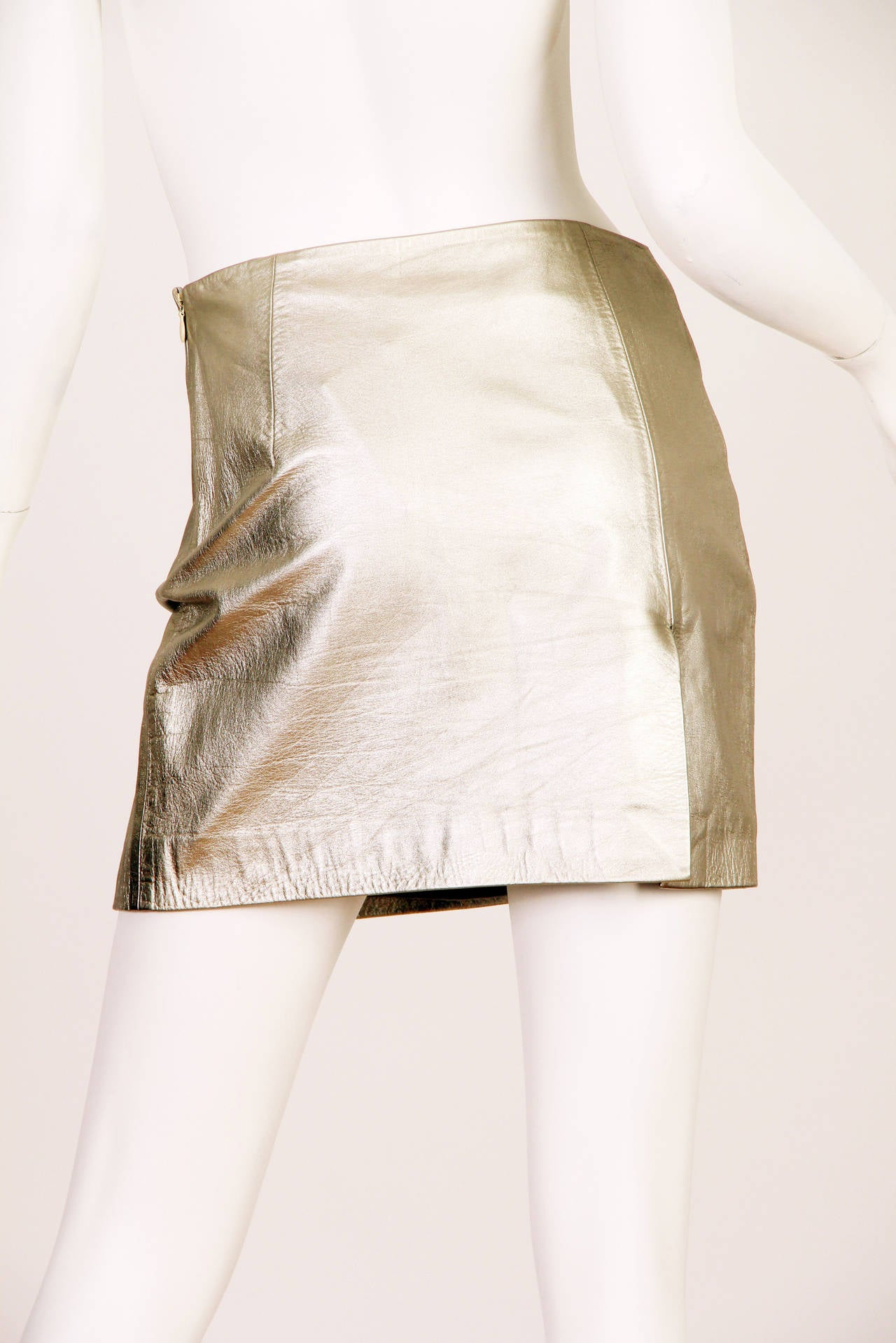 Beige Iconic Documented 1994 Supermodel Gianni Versace Couture Silver Leather Skirt For Sale