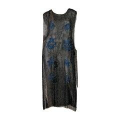 1920S Black Beaded Silk Chiffon Art Deco Era Tabard Flapper Dress With Blue Flo