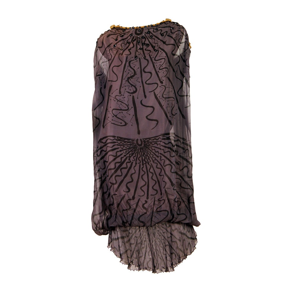 Zandra Rhodes hand Beaded Silk Chiffon Dress For Sale