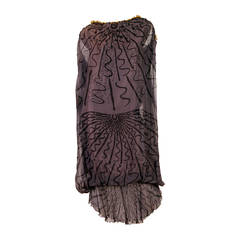 Zandra Rhodes hand Beaded Silk Chiffon Dress