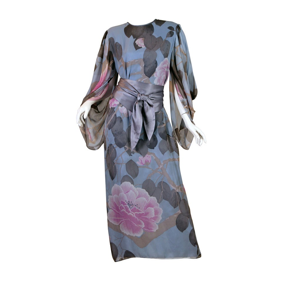 Elegant Hanae Mori Grey Blue Silk Asian Floral Dress For Sale