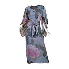 Elegant Hanae Mori Grey Blue Silk Asian Floral Dress