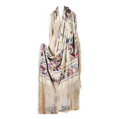 Fabulous Pictural Chinese Embroidered Piano Shawl