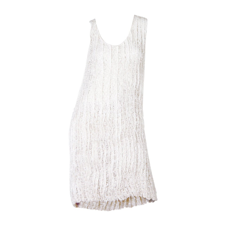 1990S HELMUT LANG Off White Silk Organza Dress Overlaid With Zipper & Pailette