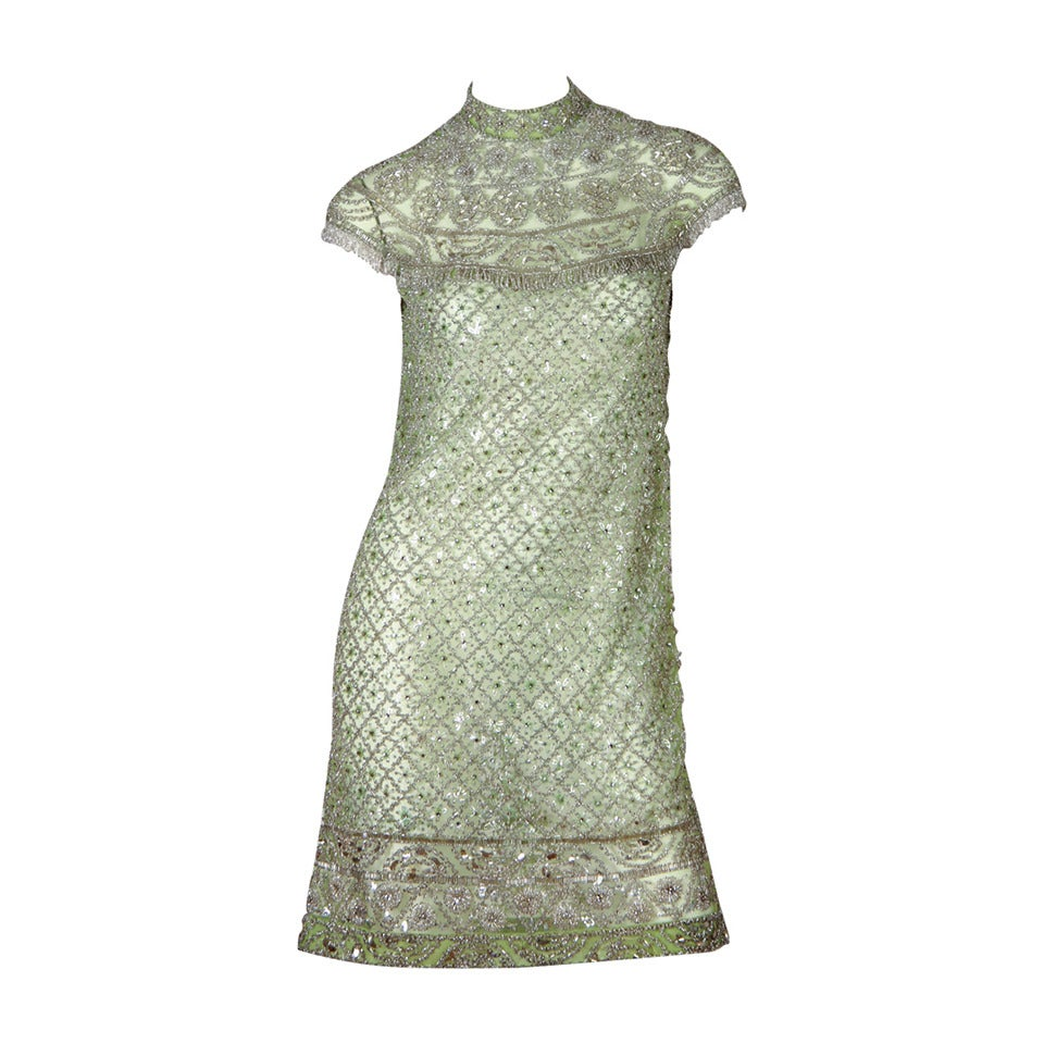 1960s Mod Beaded Net Dress