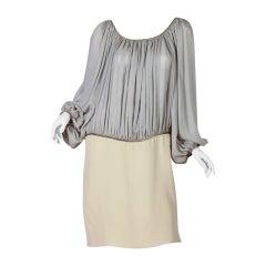 1980S GEOFFREY BEENE Cream & Grey Silk Chiffon Crepe Dress With Metallic Details