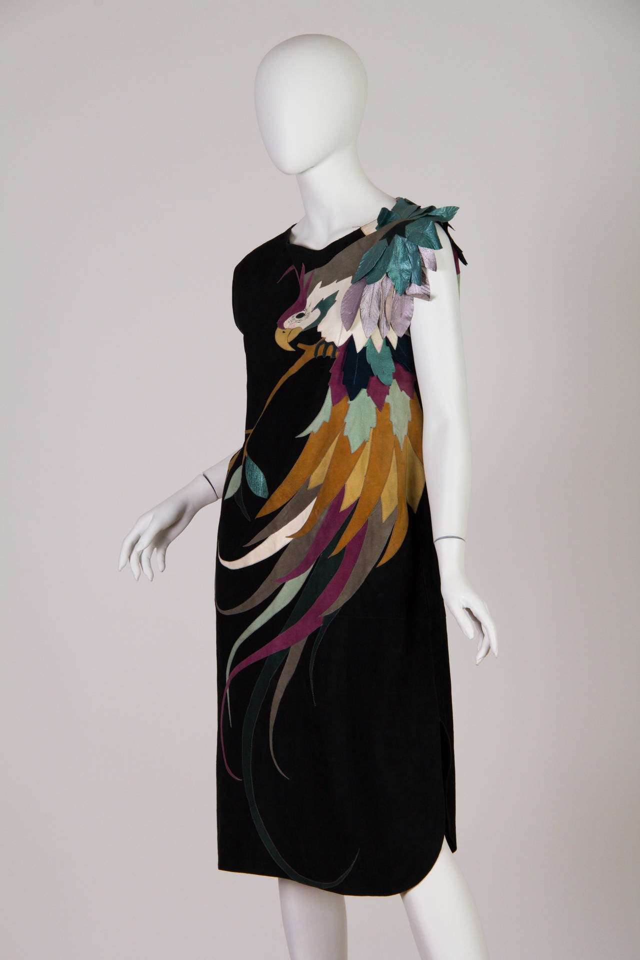 1970s Roberto Cavalli Leather and Suede Dress 2
