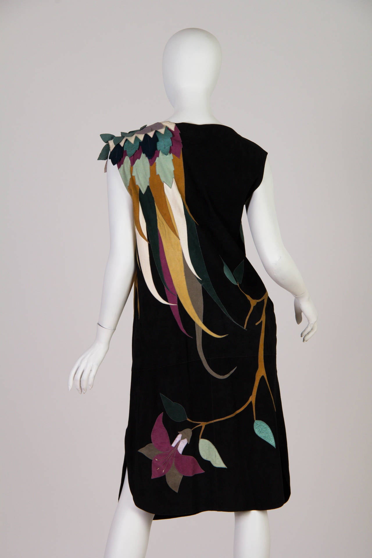 1970s Roberto Cavalli Leather and Suede Dress 4