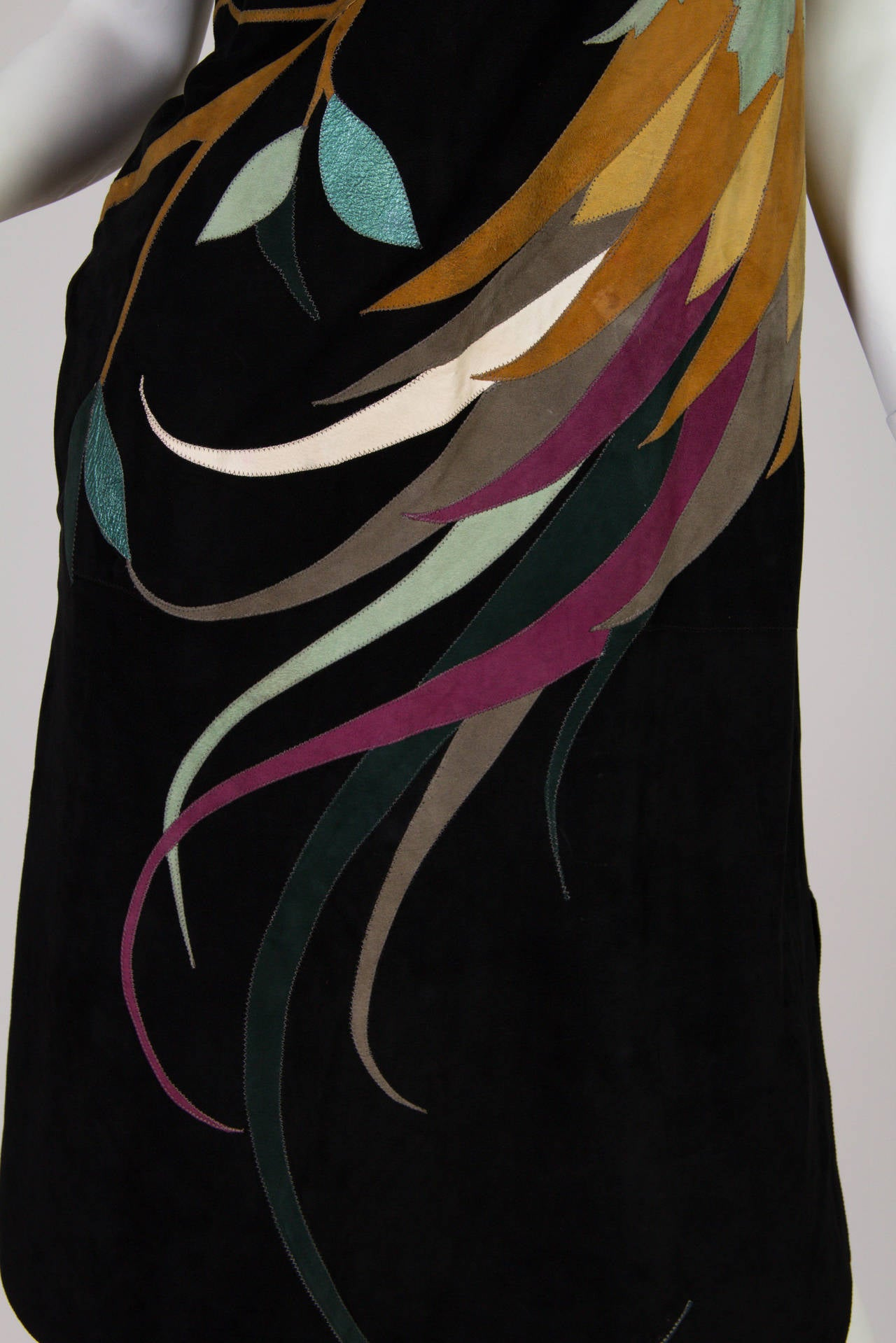 1970s Roberto Cavalli Leather and Suede Dress 9