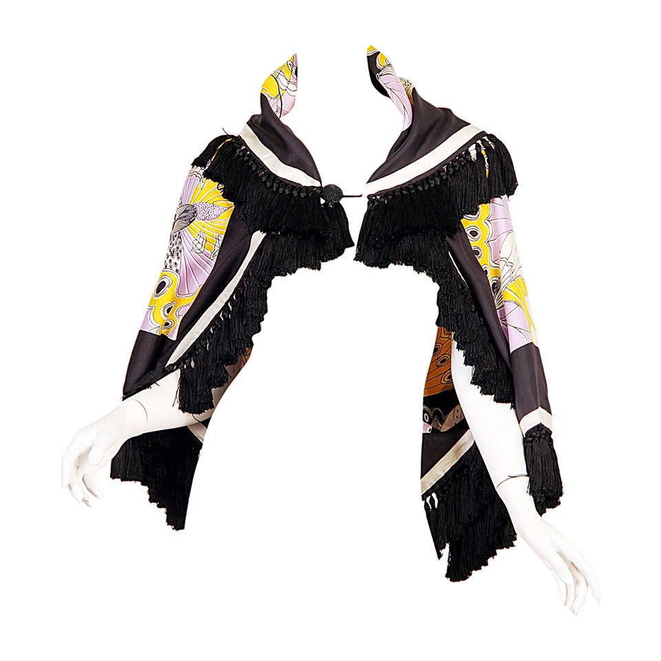 1970s Michael Novarese Silk Fringed Butterfly Jacket For Sale