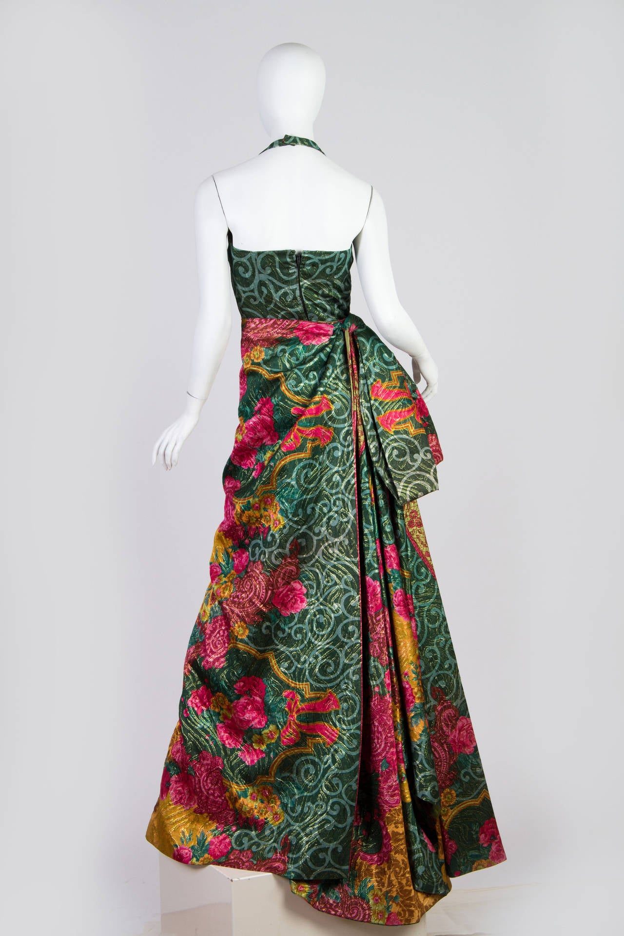 Curiel Couture Lamé Damask Gown, 1990s  In Excellent Condition For Sale In New York, NY