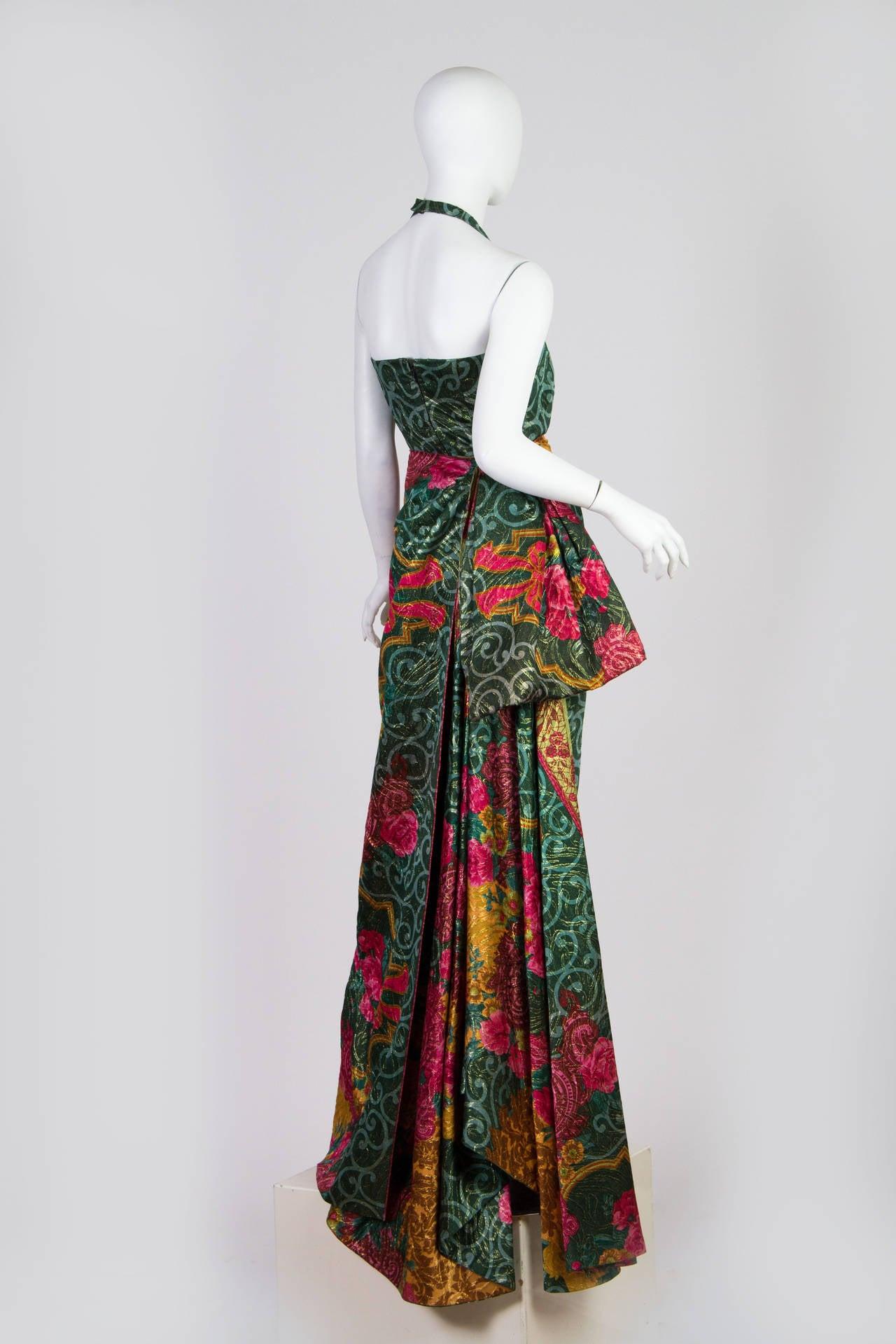 1990s Curiel Couture Lamé Damask Gown 3