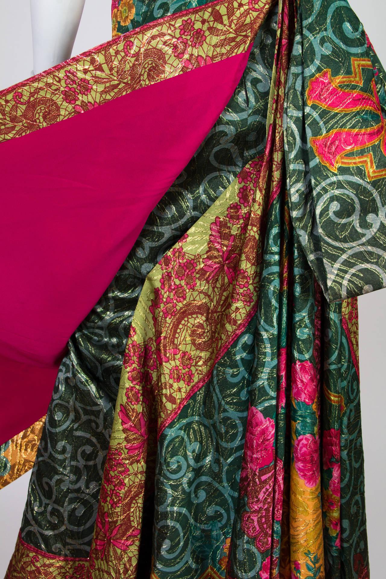 1990s Curiel Couture Lamé Damask Gown 6