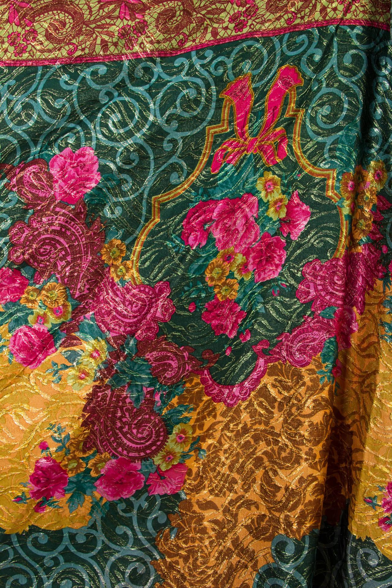 1990s Curiel Couture Lamé Damask Gown 8