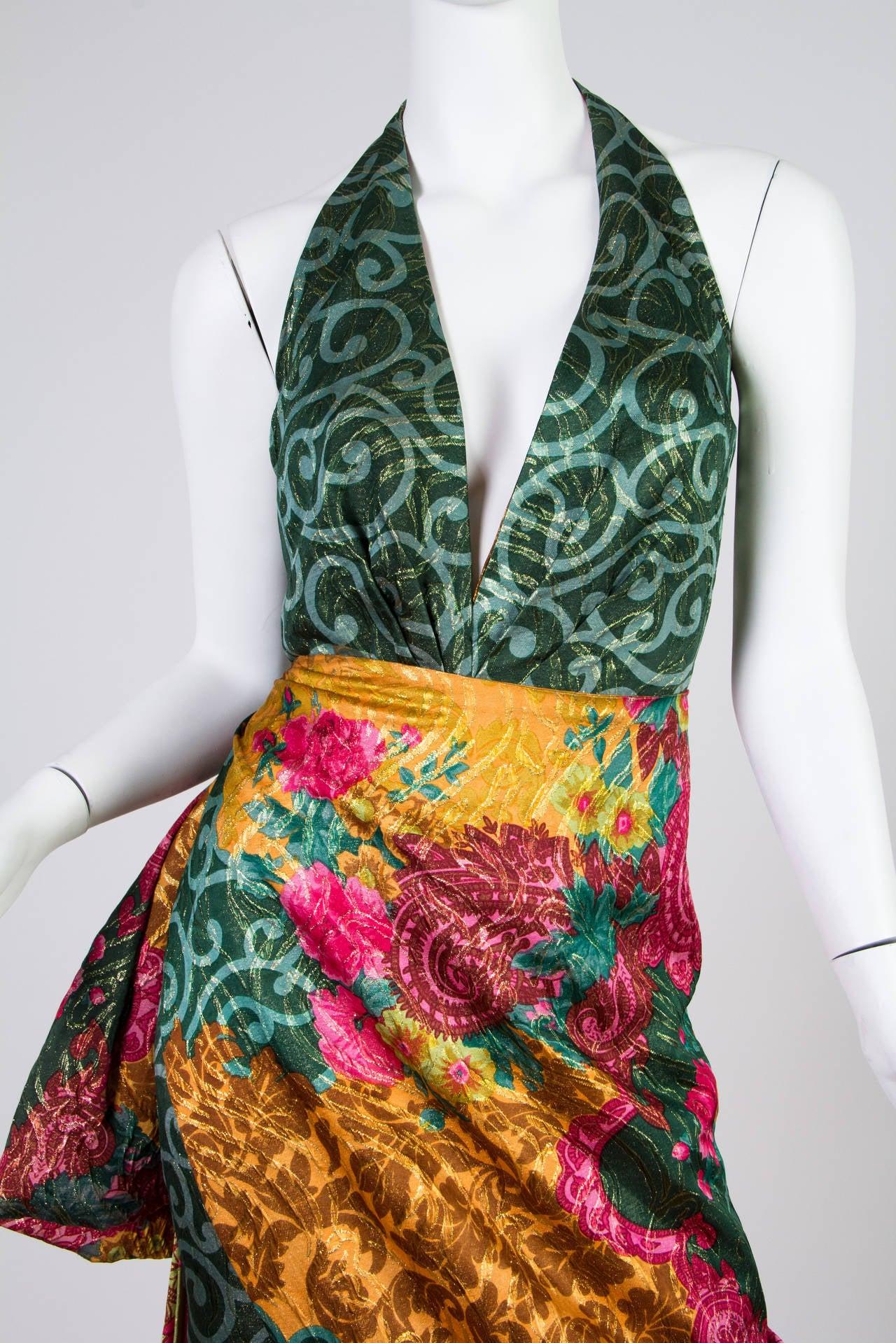 1990s Curiel Couture Lamé Damask Gown 5