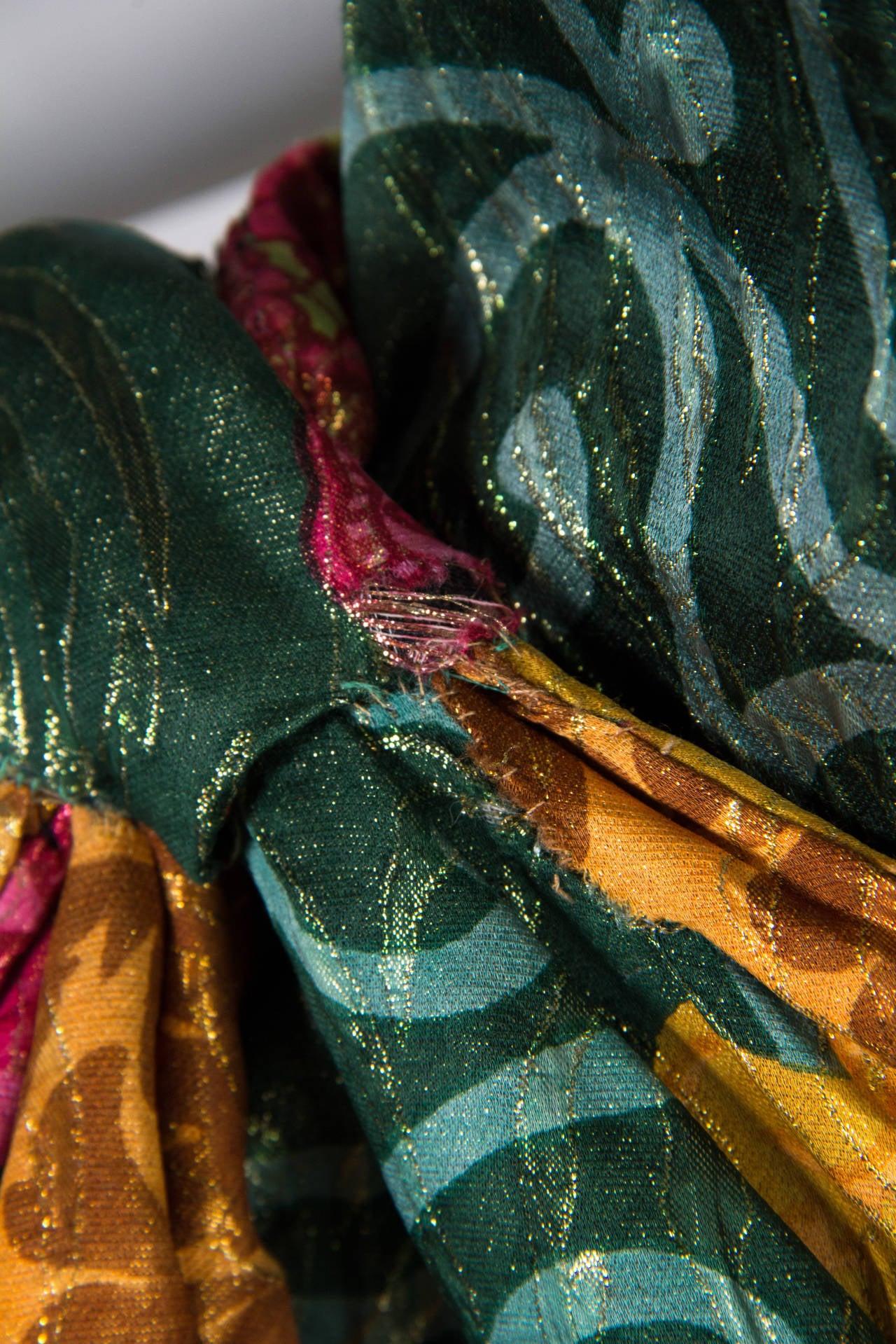 1990s Curiel Couture Lamé Damask Gown 7